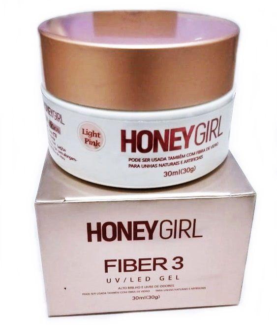 Gel Honey Girl Fiber3 Pink Light Construção De Unha Em Gel Fibra Acrigel 30gr