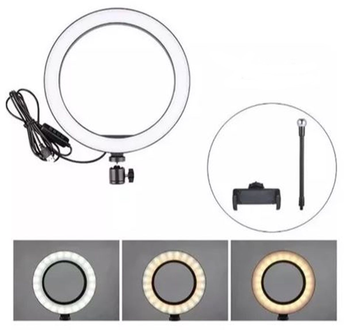 Iluminador Ring Light Youtuber Maquiagem 10 Polegadas 26cm Usb Led Tripé