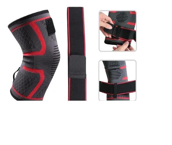 Joelheira Musculação Fitness Academia Preto Com Vermelho Grande L