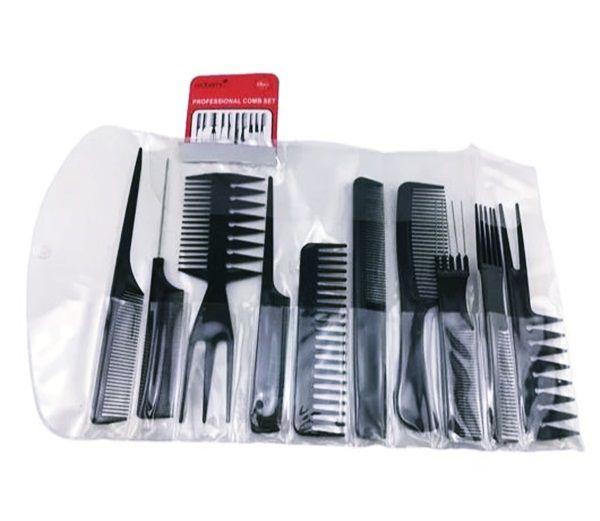 Kit 10 Pentes De Corte Cabeleireiro Barbeiro Profissional Suporta Calor