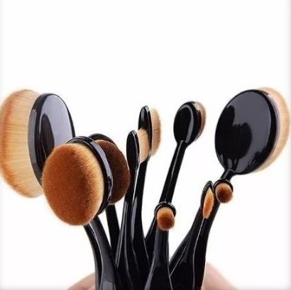 Kit 10 Pincéis Escova Oval Make Up Magic Make Cor Preto