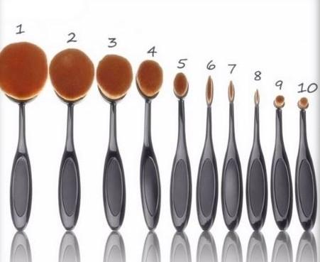 Kit 10 Pincéis Escova Oval Make Up Magic Make Cor Preto