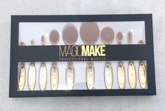 Kit 10 Pincéis Escova Oval Make Up MagicMake Cor Dourado