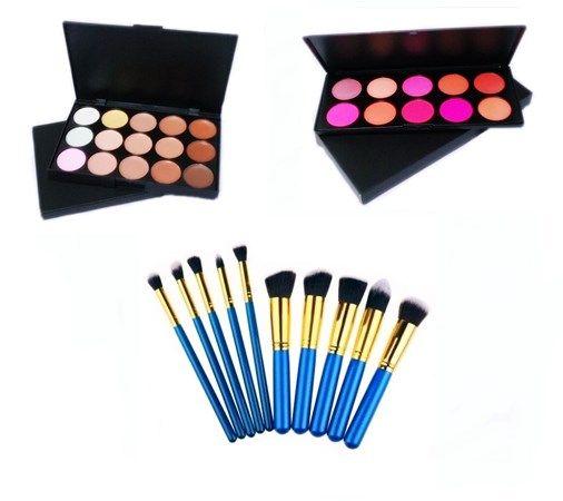 Kit 10 Pincéis Kabuki E Precisão + Paleta Corretivo + Paleta Blush