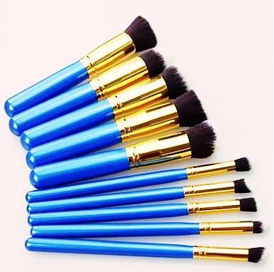 Kit 10 Pincéis Maquiagem - Kabuki E Precisão Azul