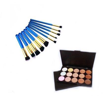 Kit 10 Pincéis Maquiagem Kabuki E Precisão Azul + Paleta Base Corretivo Com 15 Cores