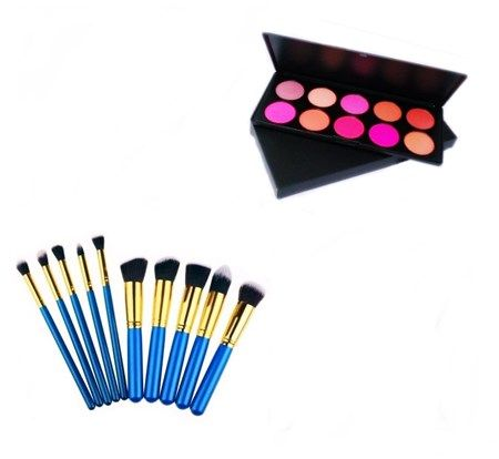 Kit 10 Pincéis Maquiagem Kabuki E Precisão Azul + Paleta Blush Profissional Com 10 Cores