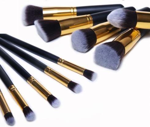 Kit 10 Pincéis Maquiagem - Kabuki E Precisão Preto