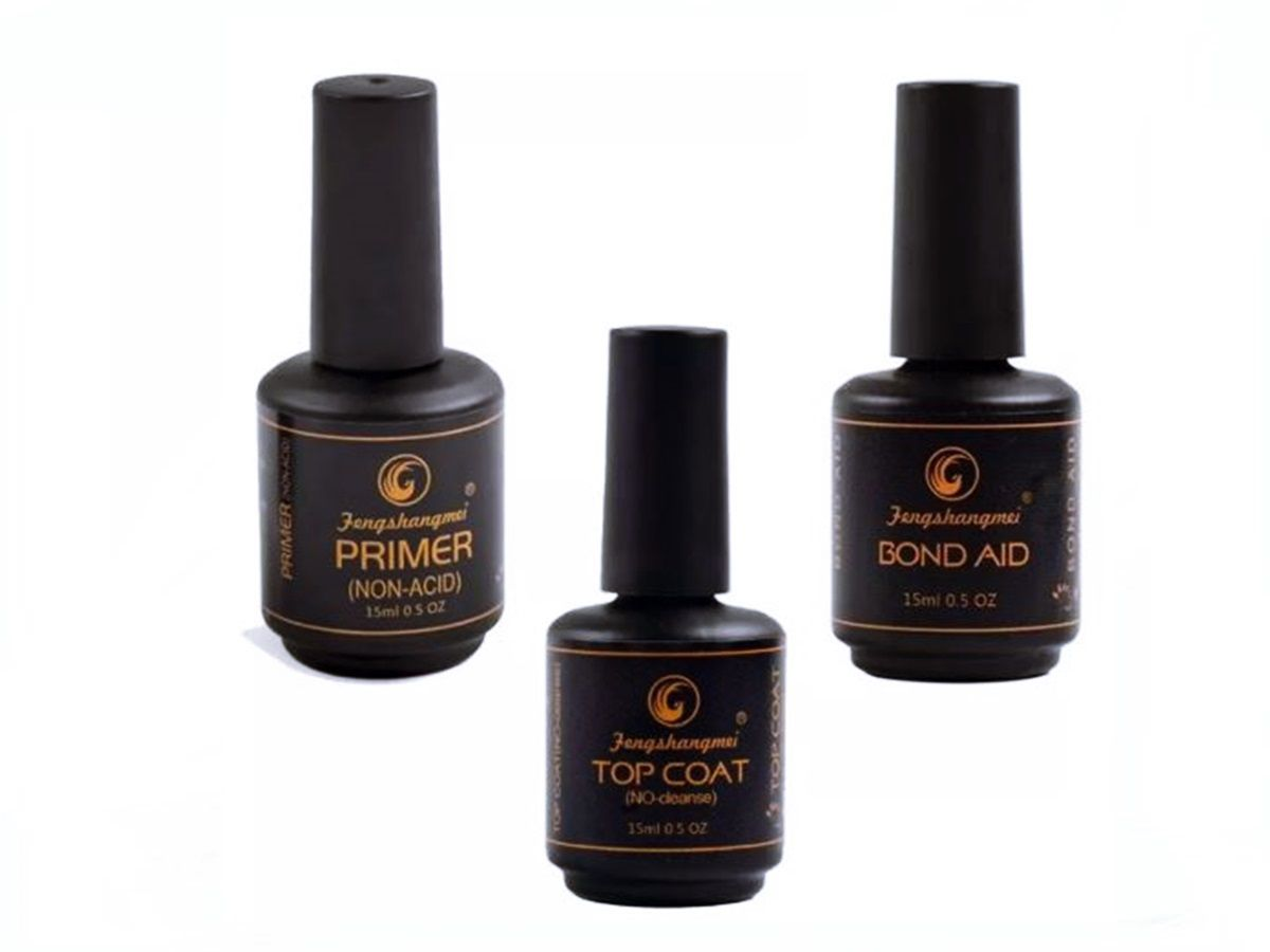 Kit 3 Pretinho Poder Fengshangmei Top Coat Primer Bond Aid Unhas Gel