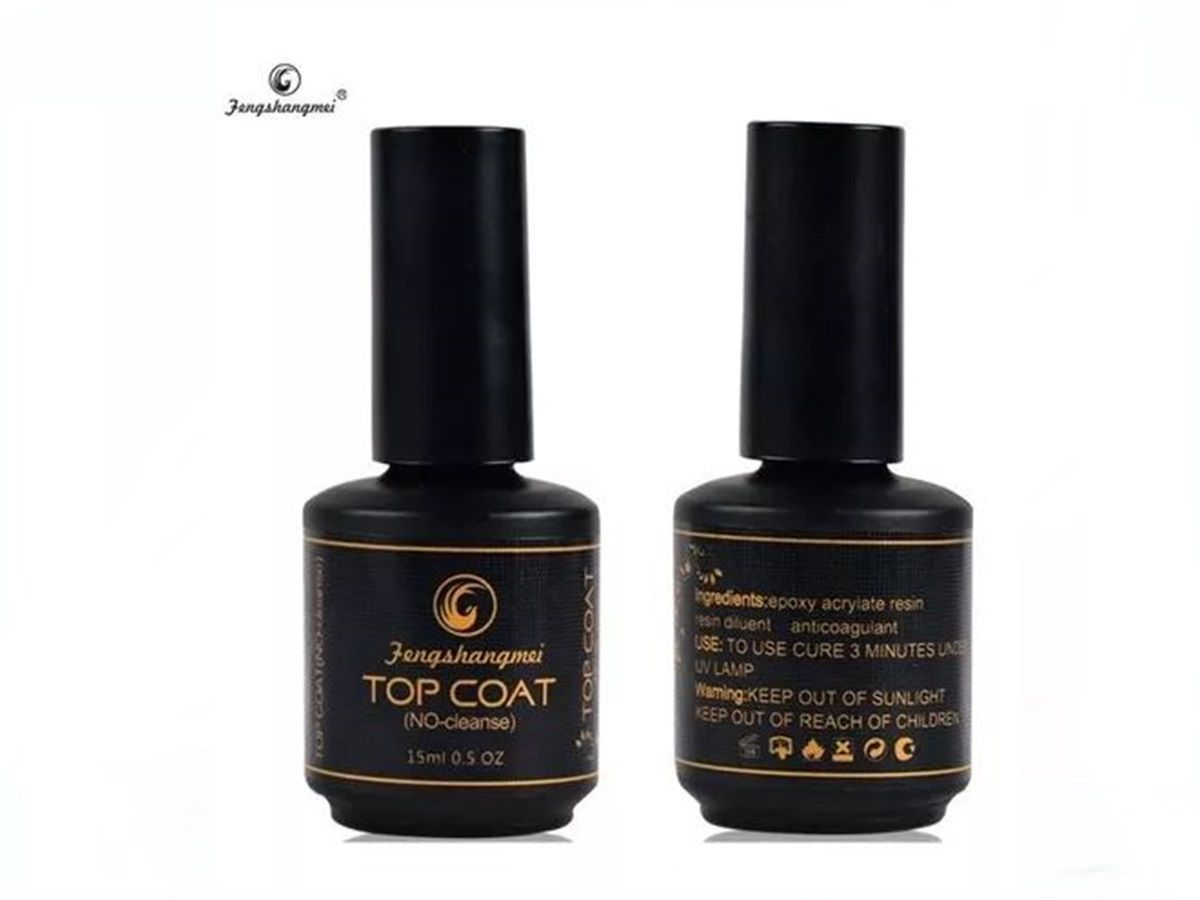 Kit 5 Top Coat Fengshangmei Pretinho Do Poder Unhas Gel Acrigel Porcelana