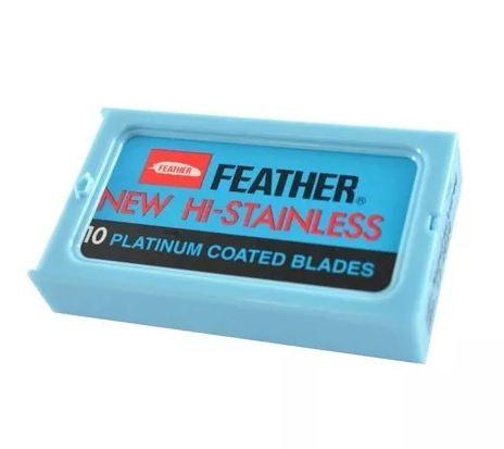 Kit 6 Caixas Lâminas Barbear Feather Platinum Coated Blades Com 10 Cada