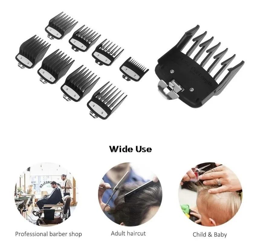 Kit 8 Pentes Metal Maquina Corte Cabelo Compativel Com Wahl Preto