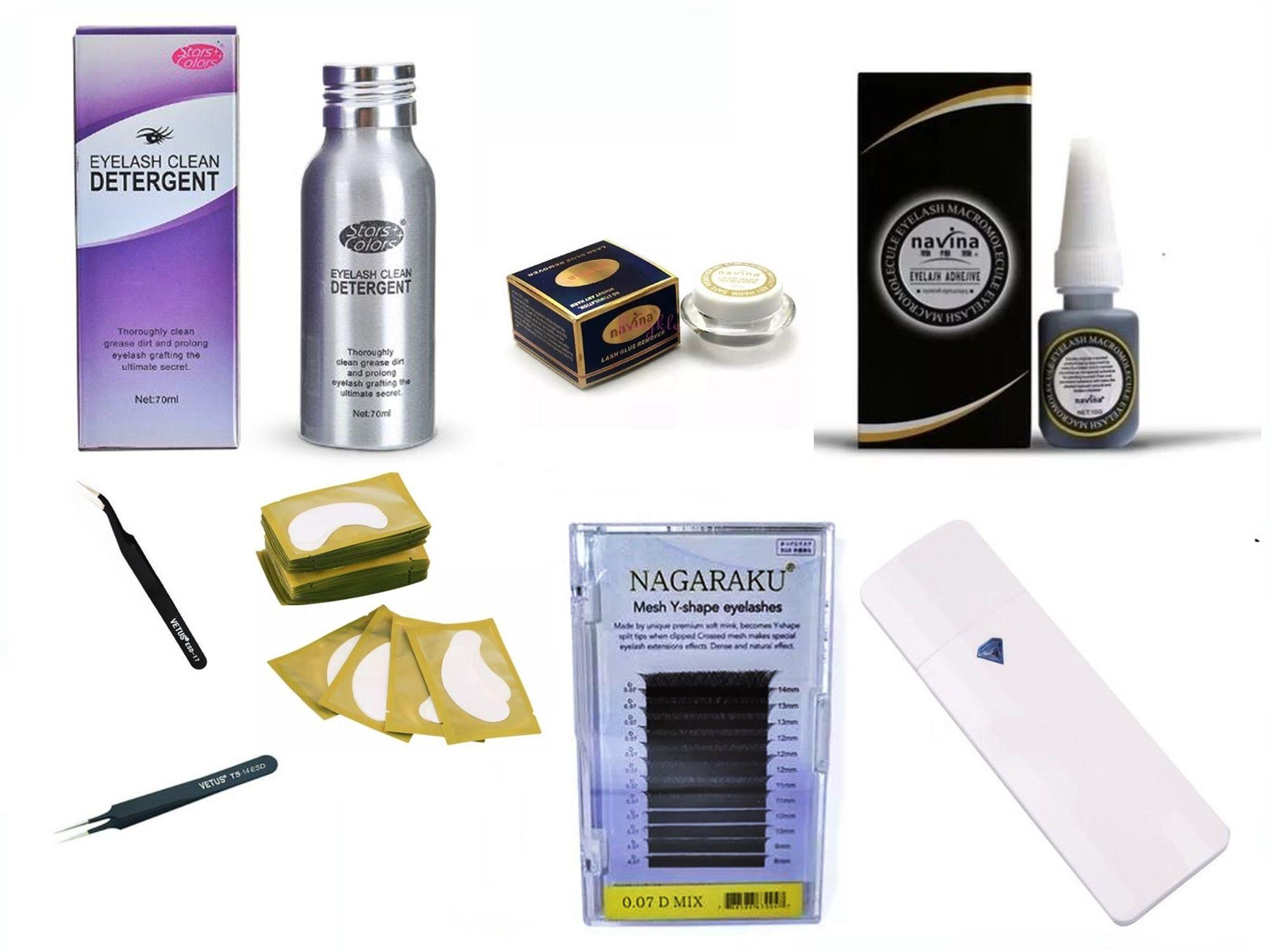 Kit Alongamento De Cílios Cola Cílios Nagaraku Removedor Limpador Nano Spray