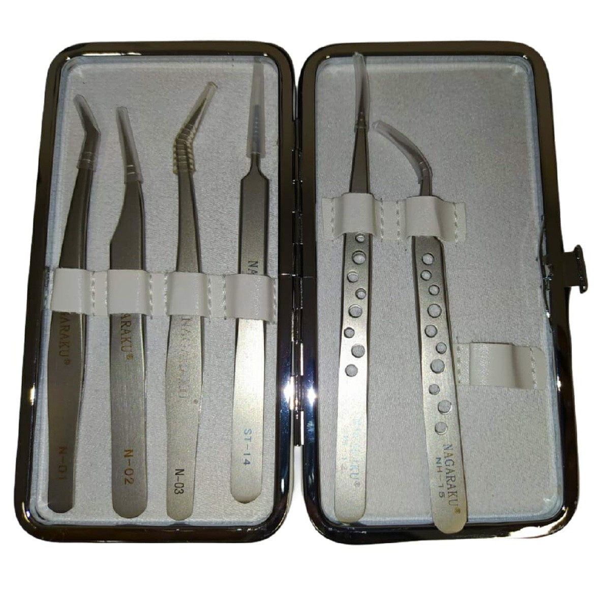 Kit C/ 6 Pinças P/ Designer Lash Premium Estojo Nagaraku Branco