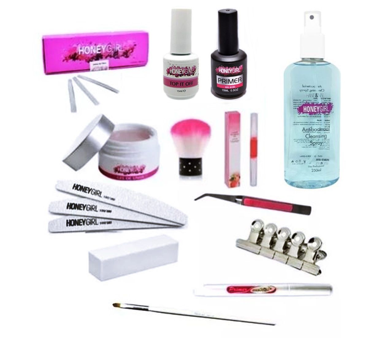 Kit Gel Pink Light Top Coat Primer Unha Fibra Prep 250ml Caneta Primer