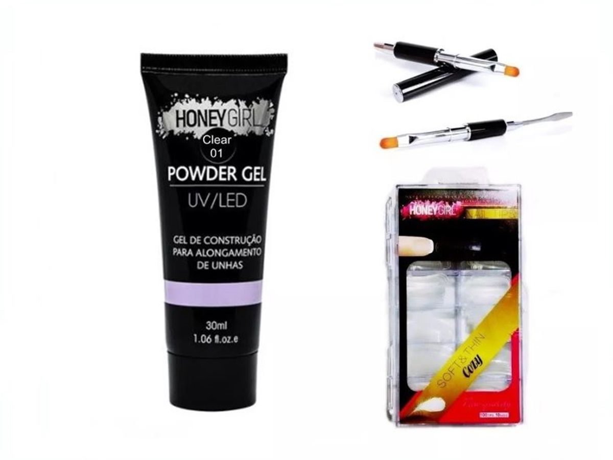 Kit Molde F1 Polygel Clear 01 Honey Girl 30ml Honey Girl Pincel Espatula