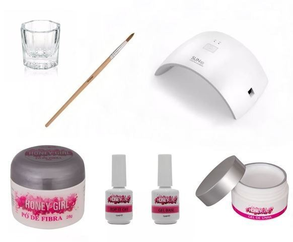 Kit Para Unha Gel Honey Girl - Pó De Fibra 28gr Cabine Led Uv 24w Top Coat Gel Clear 30gr Primer