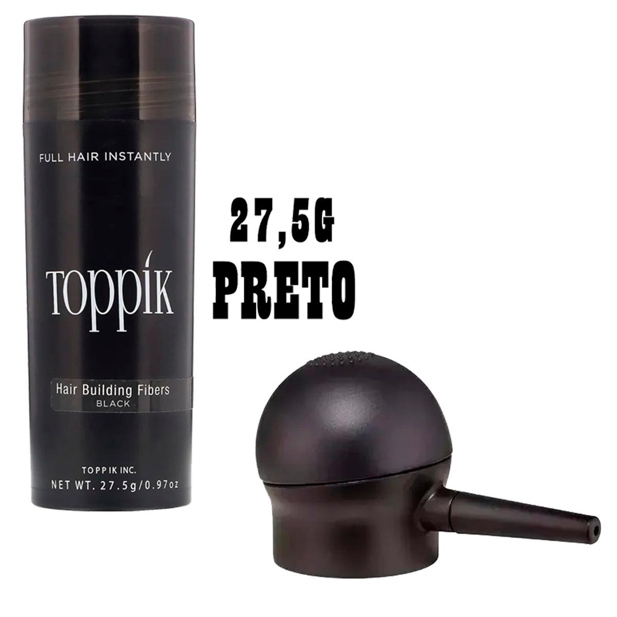 Kit Toppik Black Preto 27,5g + Borrifador Maquiagem Capilar Calvície
