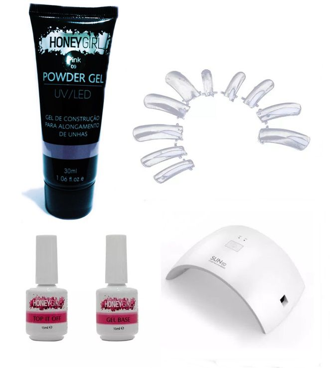 Kit Unha Gel F1 Honey Girl Poligel Pink 09 Top Coat Primer Cabine Led 24w