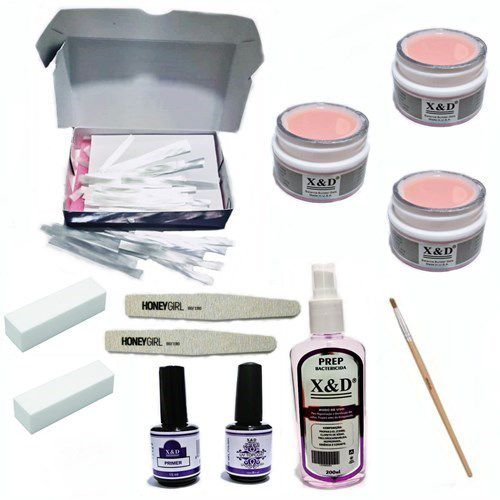 Kit Unha Gel Fibra De Vidro 3 Gel Pink Light 15gr Top Coat Prep Pincel Lixas