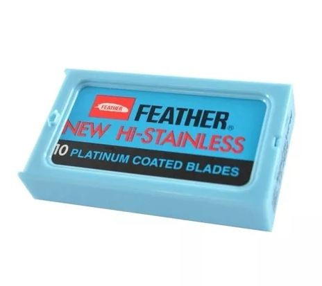 Lâmina De Barbear Feather Platinum Coated Blades C/ 10 Unidades