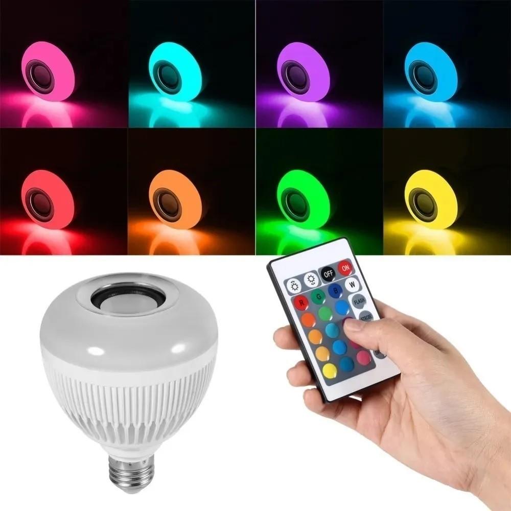 Lampada Luz Led Rgb Bluetooth Música Caixa Som + Controle