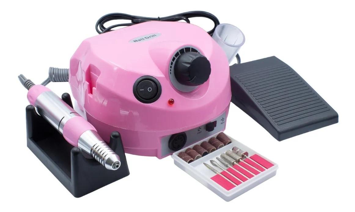 Lixadeira Motor Elétrica Unha Profissional Nail Drill Rosa 30000 110v