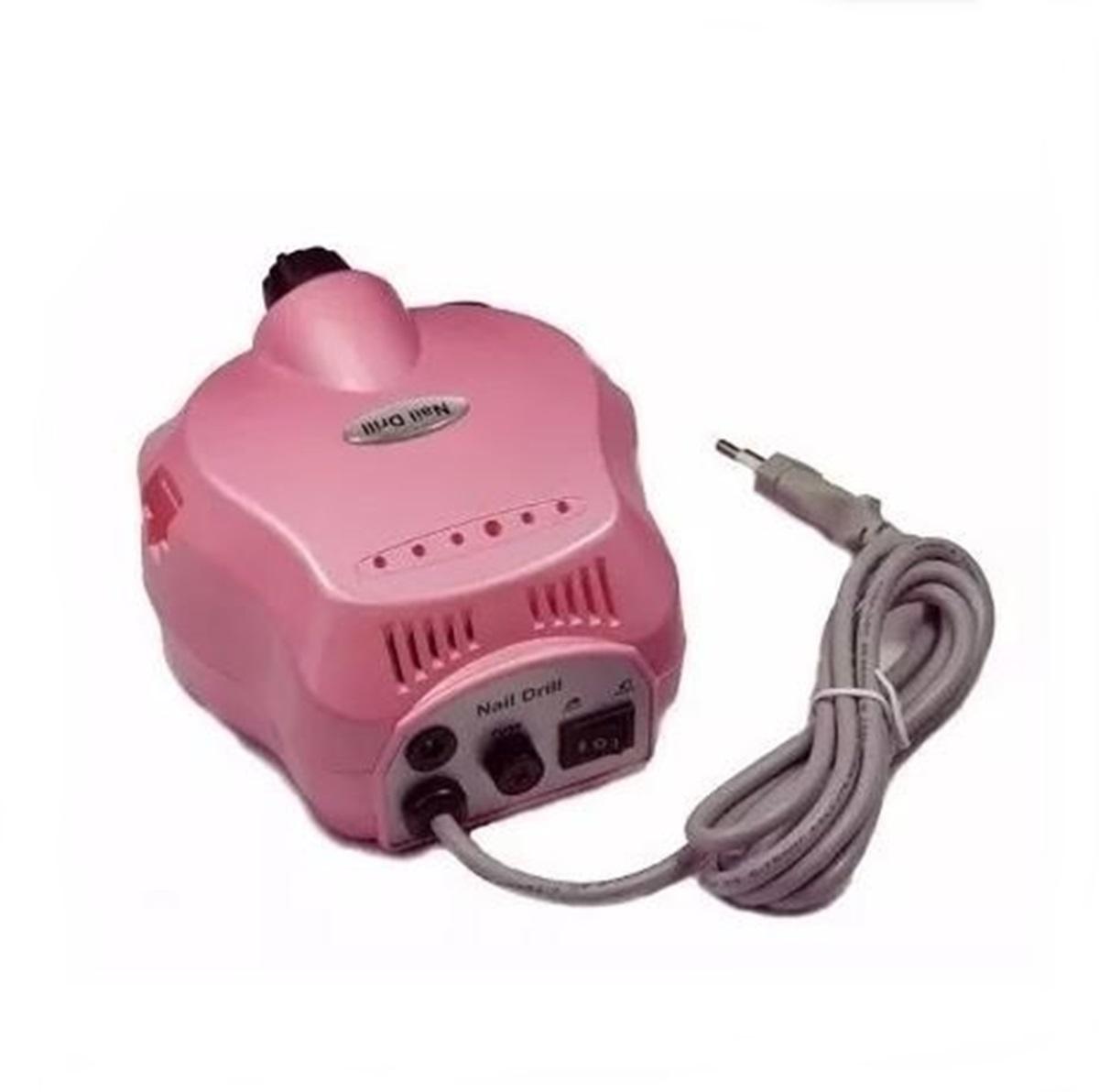 Lixadeira Motor Elétrica Unha Profissional Nail Drill Rosa 30000 RPM Bivolt