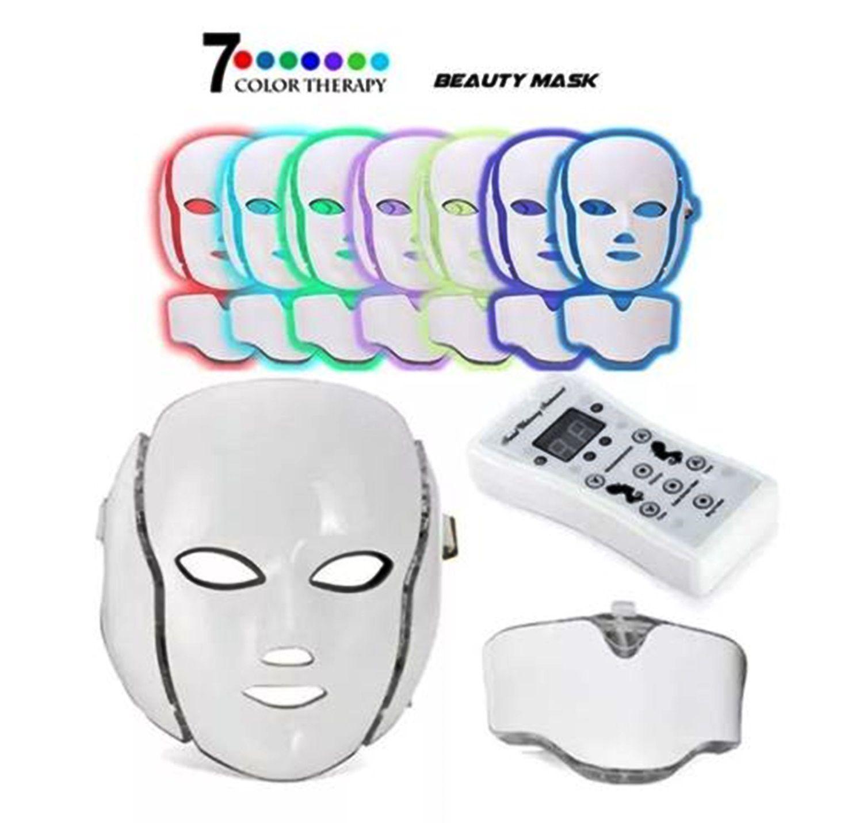 Mascara Led Facial E Pescoço 7 Cores Estetica Fototerapia Microcorrente Bivolt