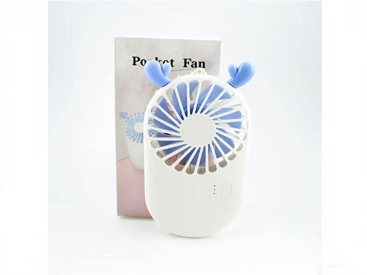 Mini Ventilador De Cílios Pocket Fan Com 3 Velocidades Branco