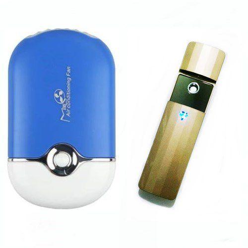 Nano Spray Vapor Dourado E Mini Ventilador P/ Alongamento De Cílios Azul