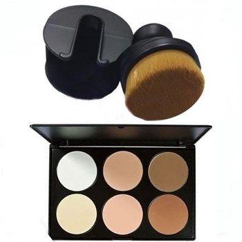 Pincel Escova Para Pó Corretivo Base + Paleta De Pó Facial Com 6 Cores