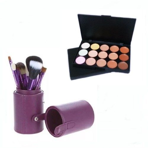 Pincel Maquiagem Profissional Kit C/ 12 Roxo + Paleta Base e Corretivo
