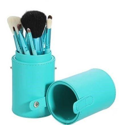 Pincel Maquiagem Profissional Kit C/ 12 Verde + Paleta Base e Corretivo