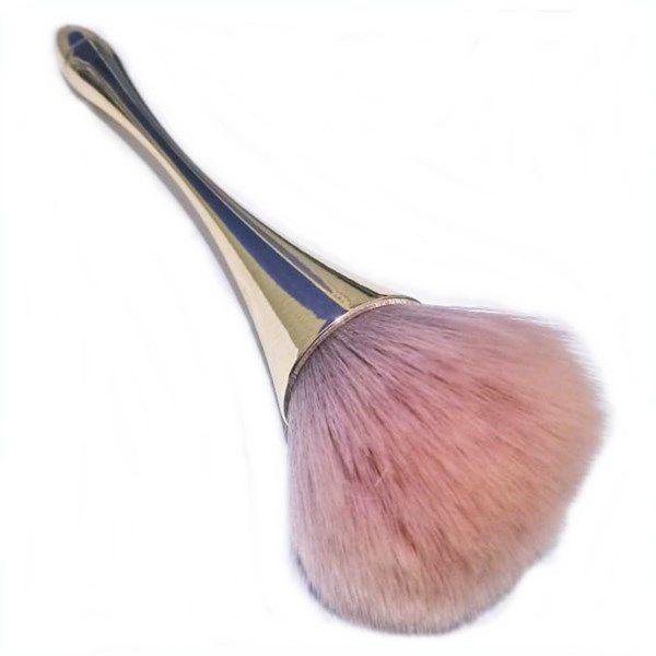 Pincel Para Maquiagem Blush Corretivo Pó Base Dourado Com Rosa