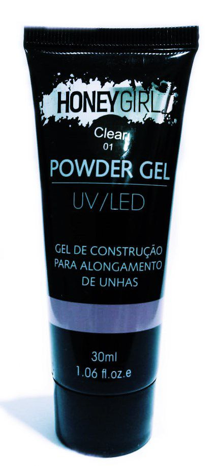 Polygel Clear 01 Honey Girl Powder Gel Led Uv Alongamento Unhas 30ml