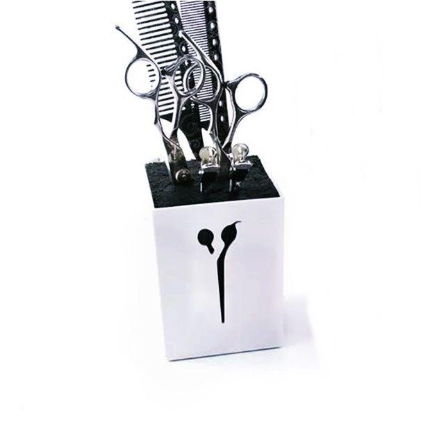 Porta Tesoura Profissional Suporte De Mesa Cabeleireiro Barbeiro Branco