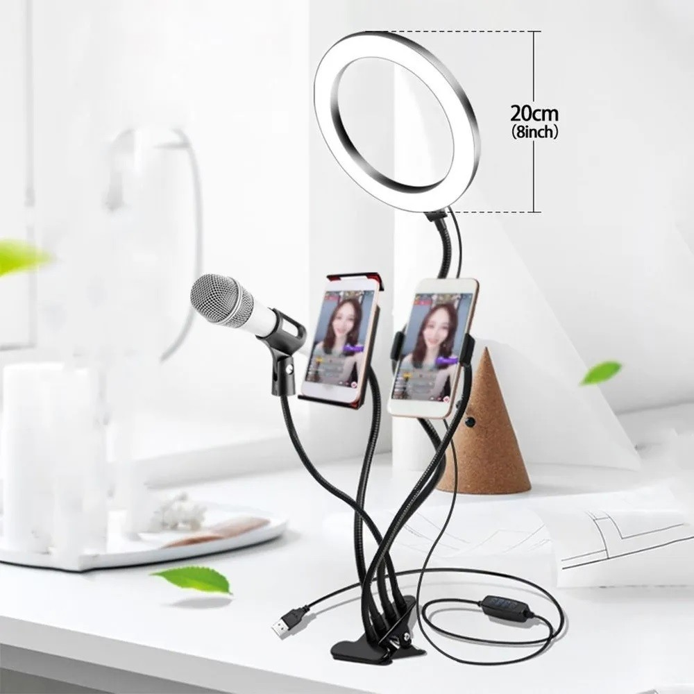 Ring Light 4 X 1 20cm Com Suporte Celular Tablet Microfone