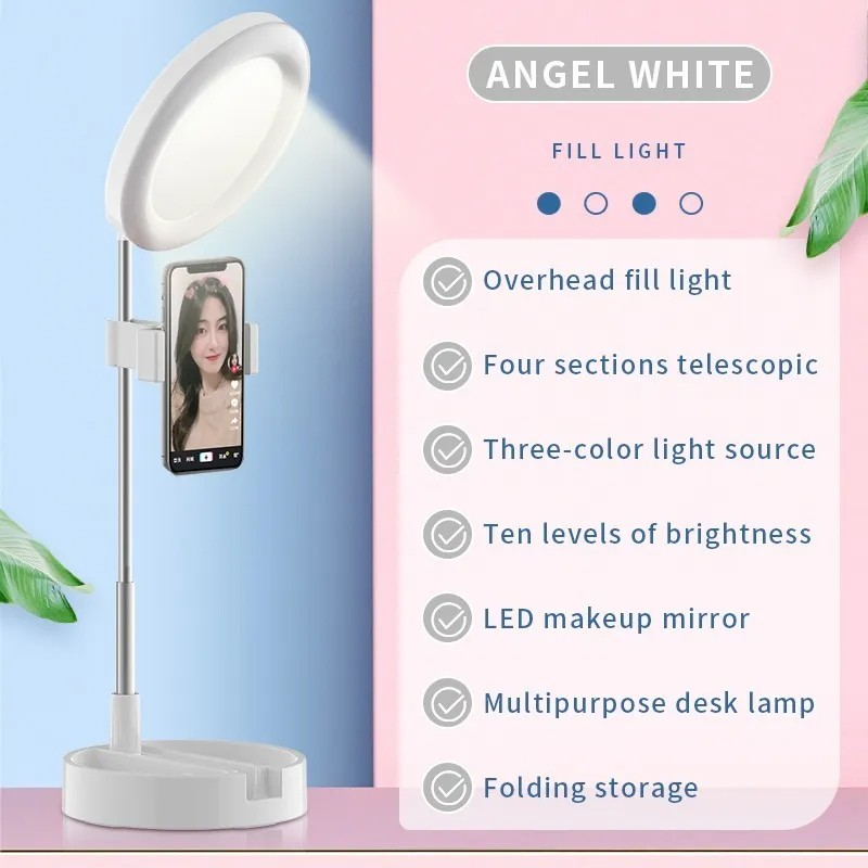 Ring Light Super Portátil Com Espelho Para Maquiagem Ao Vivo