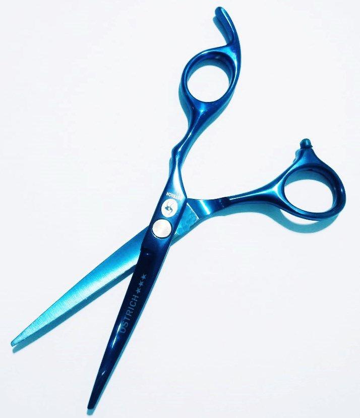 Tesoura Profissional Fio Navalha 5.5 Ostrich Azul + Navalha Barber Pole