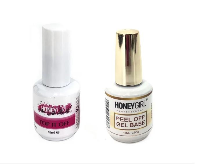 Top Coat Selante Led Uv + Peel Off Gel Base Honey Girl 15ml