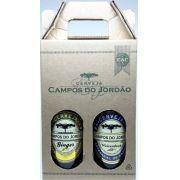 Cerveja Campos do Jordão Ginger (gengibre) e Weizenbock na caixa de presente