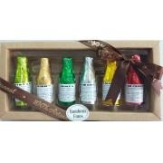 Kit de garrafinhas de chocolate com licor