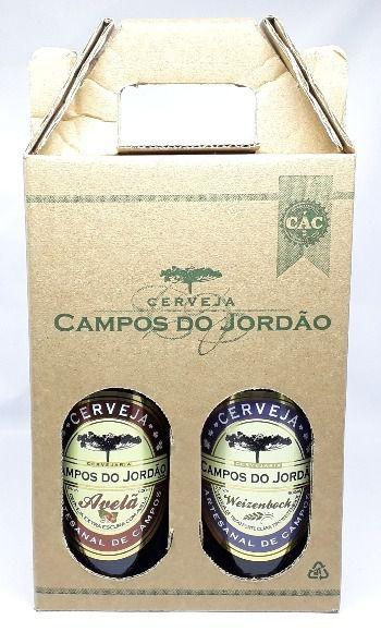 Cerveja Campos do Jordão Avelã e Weizenbock na caixa de presente