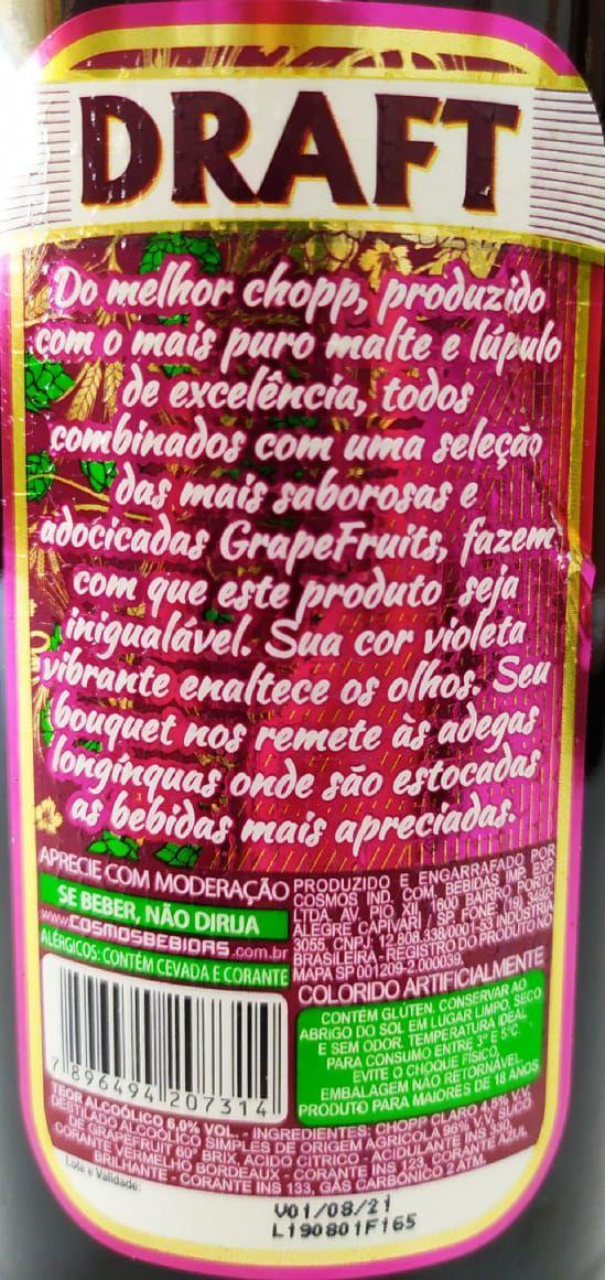 Cerveja Draft Chopp de Vinho 600ml