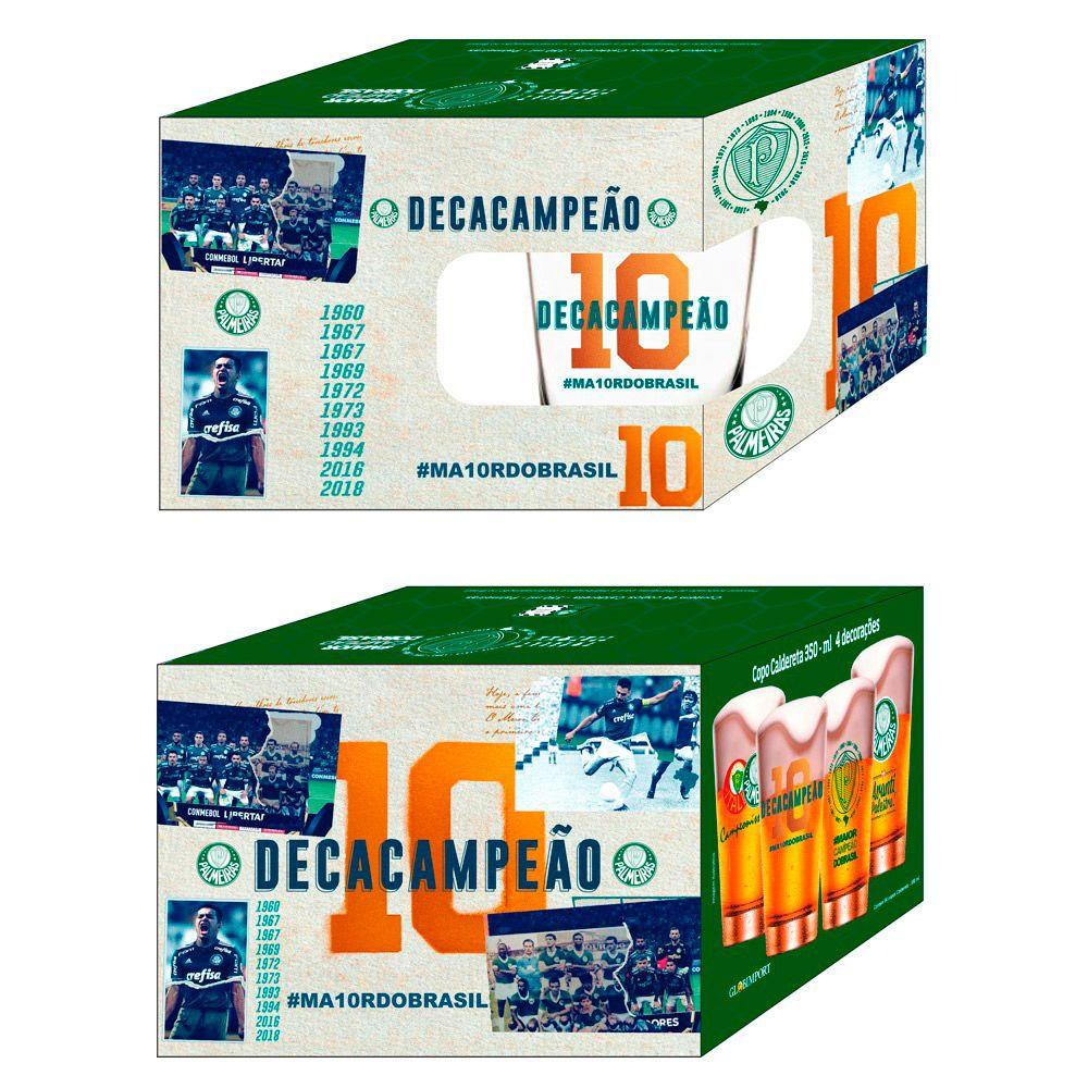 Box 4 copos Caldereta 350 ml - Palmeiras Decacampeão - 4 decorações