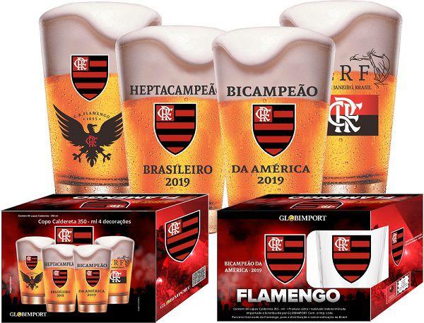 Conjunto de Copos Flamengo Campeão 2019  350ml