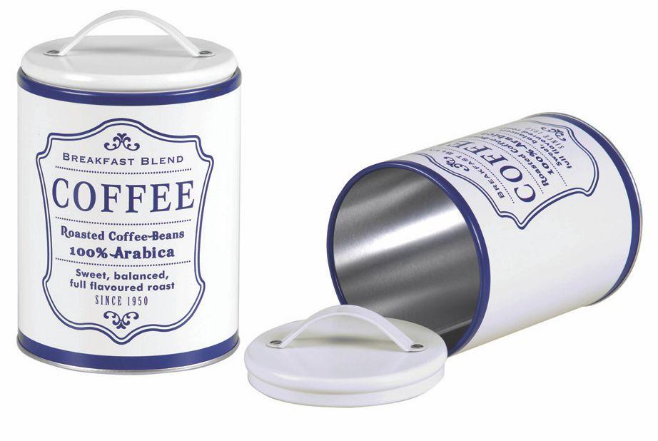 Lata Redonda Branco Fosco Vintage Coffee azul