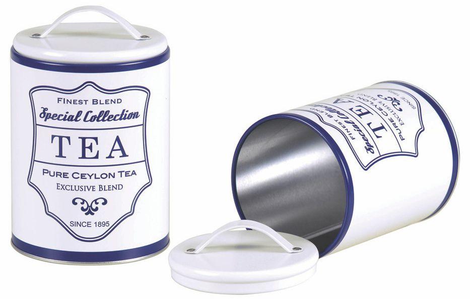 lata Redonda Branco fosco Vintage Tea  Azul