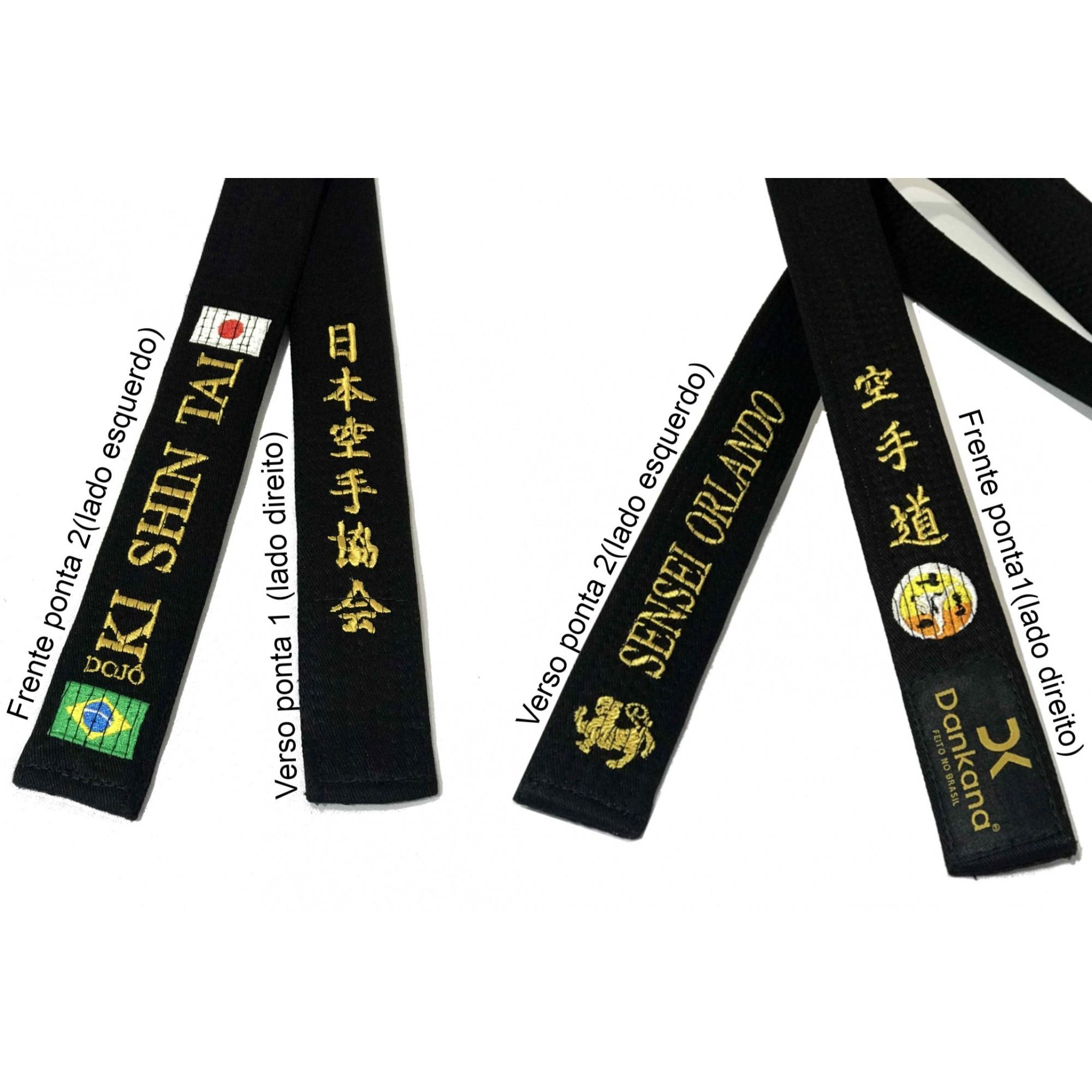 Faixa Karate Especial Bordada Frente e Verso